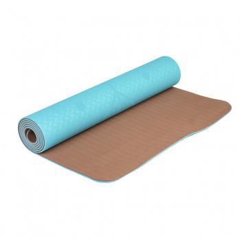 Коврик для йоги с разметкой голубого цвета