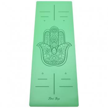 Коврик для йоги зеленого цвета с рисунком Hamsa