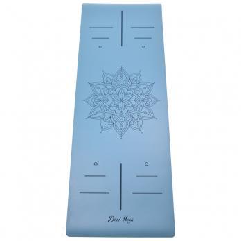 Коврик для йоги голубого цвета с рисунком Мандала