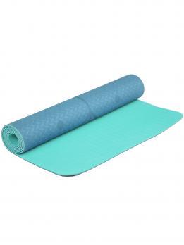 Коврик для йоги с разметкой голубого цвета с разметкой