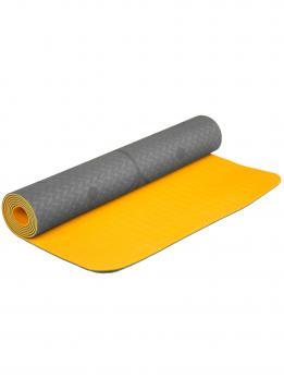 Коврик для йоги с разметкой желтого цвета с разметкой