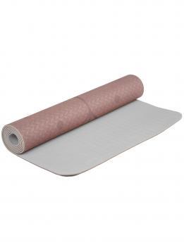 Коврик для йоги с разметкой коричневого цвета