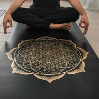 Профессиональный коврик Yoga Club для йоги PRO FLOWER GOLD_1