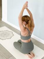 Профессиональный коврик для йоги PRO Flower Gold White Yoga Club_3