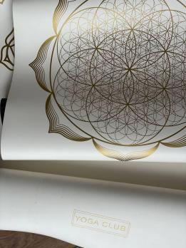 Профессиональный коврик для йоги PRO Flower Gold White Yoga Club